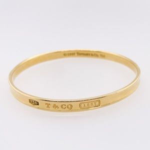 Tiffany & Co. Yellow 18k Solid Gold 1837 Collection Bangle Bracelet